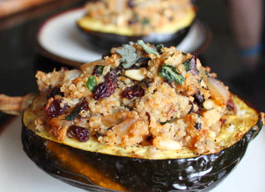 Beef + Mushroom Stuffed Acorn Squash Recipe — Dishmaps