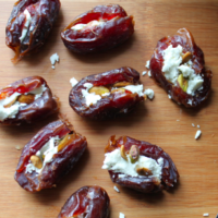 Bacon Wrapped Dates – Goat Cheese and Pistachios