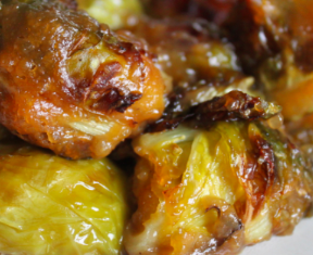 Maple Miso Glazed Brussels Sprouts